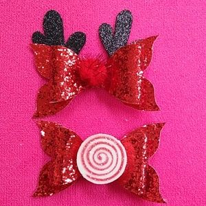 Christmas handmade faux leather hairbow